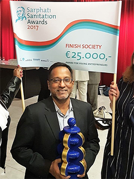 "Finish Society, India receives the prestigious Young entrepreneurs Award 2017 in this year's ""Sarphati Sanitation Awards"" presented at the opening ceremony of Amsterdam International Water Week on 30 October 2017."